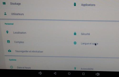 M3 choisir clavier FR dans langue et saisie